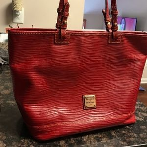 Dooney red leather tote
